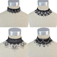 Wholesale Silver Choker Gothic - idealway Bohemian Gothic Style Black Lace Leather Wide Flower Chain Carved Metal Charms Choker Necklace Jewelry