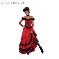 Wholesale Xxl Dress Western - plus size Flamenco French and Spain dance costume women cancan red dance dress Sexy Red Costume Western Saloon Girl Dress