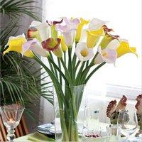 Wholesale Orange Lily Wedding Bouquets - Wholesale-10pcs Real Touch Lily Calla PVC Artificial Flower Bouquets Home Wedding Bridal Decor Decorative Flowers & Wreaths 10 Colors
