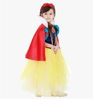 Wholesale Girls Party Dresses Europe - Snow White Cloak Girls Dress 2017 Halloween Play Party Europe America Kawaii Vestido Infantil Fashion Princess Pageant Dresses
