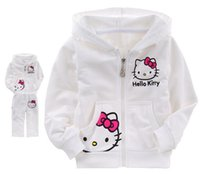 Wholesale Set Hooded Child Girls - Wholesale- 2pcs set Hello Kitty Girls Clothes Sets 2016 Spring Casual Long Sleeve Clothing Sets For Children Kids Roupa Infantil CC295-CGR3