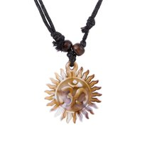 Wholesale Looking For Gift Wholesaler - comejewelry Egyptian Yoga Tooth Wheel Edge Look Like Sun With Round Macrame Plate OM Chakra Wiccan Rope Necklace Jewelry For Woman