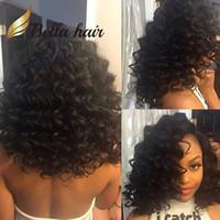 insan perukları fabrikası toptan satış-Siyah Kadınlar için gevşek Kıvırcık Dalga İnsan Saç Peruk İşlenmemiş Perulu Saç Tam Dantel Peruk / Ön Dantel Peruk Bellahair Fabrika