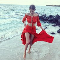 Wholesale Tube Top Dress Skirt - Two Piece Dress Long sleeve chiffon blouse shirt women tops Boho off shoulder crop top+skirt red Summer beach blouse chemise tube blusa