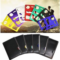 Wholesale Wholesale Tactical Stocks - 11 in 1 Multi functional oudoor army knives portable stainless steel pocket knife tool cards with leather cover 7 colors in stock