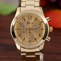 Wholesale Ladies Rose Gold Chronograph Watch - New Rose Gold Watch Women Luxury Brand Geneva Ladies Wristwatches Gifts Stainless Steel Casual Quartz Watch