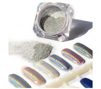 Wholesale Rainbow Nail Polish - 1g Box 3D Shiny Glitter Silver Pigments Holographic Laser Powder for Nail Art Gel Polish Rainbow Chrome Shimmer Dust
