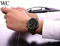 Wholesale Watch Men Aviator - Swiss brand WC quartz watch leather men watch aviator series luxury brand watches Relogio classic Wristwatches AAA all the pointers work