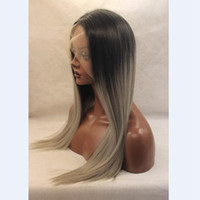 Wholesale Gray African American Wigs - Medium length straight black ombre grey dark roots 18inch picture 150% heat hesistant african american wigs ,gray wig