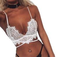 Wholesale underwear women sheer white - Plus Size Summer Women Crop Tops Hollow Out Camis Translucent Underwear Sheer Lace Frenum Strap Lingerie Bra Tops