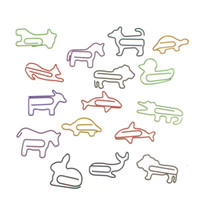 Wholesale Cute Shaped Paper Clips - Wholesale- 16pcs lot New Arrival Cute Novelty Practical Animal Shape Paper Clip Metal Bookmark Dog Cat Paperclips Pattern Randomly