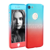 Wholesale Graduated Color - Graduated Color 360 Degree Full Body Protective Case Cover with Tempered Glass Screen Protector for Apple iPhone 6 6S 7 Plus Phone Case