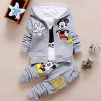 Wholesale Toddler Boy Outfits For Christmas - Wholesale- Mickey 3PCS Set For Baby Boy Girl Suit Clothing Christmas Outfits Minnie Mouse Kid Toddler Hooded Jacket+T Shirt+Pant Tracksuit