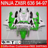 Wholesale Kawasaki Zx6r 97 Green Fairings - 8Gifts 23Colors For KAWASAKI NINJA ZX636 ZX6R 94 95 96 97 ZX-6R ZX-636 green black 33NO18 600CC ZX 636 ZX 6R 1994 1995 1996 1997 Fairing kit