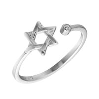 5pcs / lot Retro 925 Sterling Silver David Star Rings para mulheres ajustável Free Size Wedding Rings Fashion Sterling-silver-jewelry