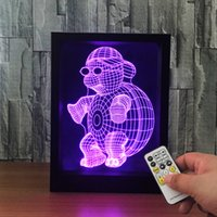3D Turtle LED Photo Frame IR Remote 7 RGB Lights AAA Battery ou DC 5V Factory Wholesale Dropship Frete grátis