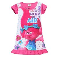 Wholesale Cartoon Character Costume Princess - Troll Costumes 2017 Summer Baby Girl Dress Cartoon Trolls Dress Casual Flowers Dress Princess Girl Dresses Children Clothes