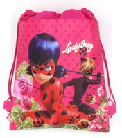 Wholesale Woven Drawstring Backpack Wholesale - 12pcs Miraculous Ladybug Non-woven Fabrics Drawstring bag Outdoor Travel Storage Bag Cartoon Backpack for Kid Back to School Draw string bag