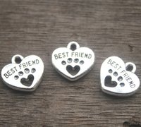 Wholesale Charms Dogs - 20pcs--Best Friend Charms, Antique silver Tone with Heart Dog Paw charm pendants 15x15mm