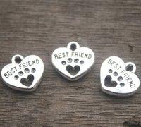 perla de plata perro encanto al por mayor-20pcs - Encantos del mejor amigo, tono plateado antiguo con los colgantes del encanto de Heart Dog Paw 15x15m m