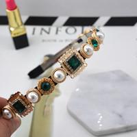 Wholesale royal headband resale online - hot sell luxury hair accessories fashion royal baroque headband pearl rhinestone metal crystal hair bands flower hair bands