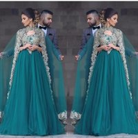 Wholesale chiffon muslim dress kaftan - 2017 Hunter Green Abayas Kaftan Muslim Caped Long Prom Dresses A Line High Neck Gold Lace Appliques Beaded Turkish Evening Gowns