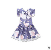 Wholesale Girls Crown Dress - Baby Girls dress 2017 new children fly sleeve bow backless princess dress girls Red-crowned cranes printed dress toddler kids clothes T1801