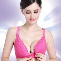 Wholesale nursing bras 34b - Nursing Bra Pregnant and Breast-feeding Women Postpartum Skin Comfortable,Breathable,Flowers Lace,Front Upper Double Opening Breast Buckle
