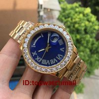 Wholesale Blue Diamond Watch Mens - luxury Mens brand men Watch Big Diamonds Day-Date Gold Stainless Steel Perpetual President Automatic Mechanical Diamond Wristwatch watches