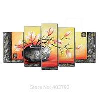 ölgemäldeflaschen großhandel-5 Teile / los Flasche Elegent Blumen Bild Malerei 100% Handgemalte Moderne Ölgemälde Auf Leinwand Wandkunst Dekoration