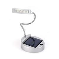 Wholesale Flexible Solar Battery - Wholesale- Solar Power Light Collapsible Portable Book Night Light Battery Operat Table Lamp Flexible Desktop Reading Lamp 4 LED Desk Lamp