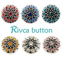 D01776 Rivca Snaps Button Jóias Hot wholesale Estilo de mistura de alta qualidade 18mm Metal Ginger Snap Button Charm Rhinestone Styles NOOSA pedaço