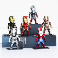 Wholesale Dragon Ball 24 - Egg Attack Iron Man Light & Action Function Iron Man MK42 43 22 24 2 Action Figures Toys 9cm 6pcs set Free Shipping