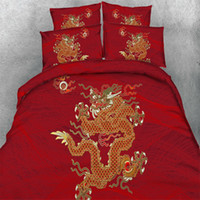 Wholesale Dragon Quilt Set - Red Bedding Sets Dragon Quilt Duvet Cover Set Pillowcases Twin Queen King Size 2017 New