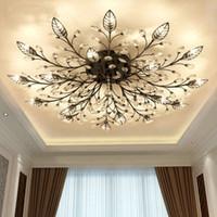 plafonniers achat en gros de-Moderne Nordique K9 Cristal LED Plafonniers Luminaire Or Noir Maison Lampes pour Salon Chambre Cuisine Salle De Bains