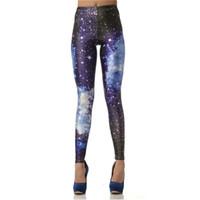 модные новые женские тонкие гетры оптовых-Wholesale- 2017  New 3D Digital Blue Galaxy Sexy Legins Fashion Slim Leggins Printed Women Leggings KDK1011
