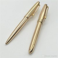 Wholesale Pc Serial Numbers - 1 pcs Luxury Pen #163 gold rollerball pen stationery wavy stripe mb ballpoint pen with serial number