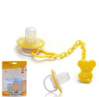 Commercio all'ingrosso - 1set Baby Pacifier Chian Clips + Infant Fumetto Fascino PatternAttache Sucette