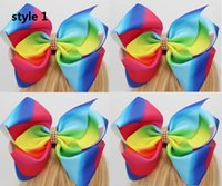 Wholesale Alligator Clip Bows - 2017 Newest jojo SIWA 8 Inches Extra Large Grosgrain Ribbon Rainbow Cheer Bows Alligator Hair Clips for Girls Kids Toddler 12pcs