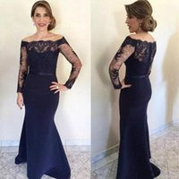 Wholesale Long Sleeved Floor Length Wedding Dress - Navy Blue mother off bride dresses sleeves 2017 Off the Shoulder Long Sleeved Lace Appliques Wedding Guest Dress with Sash Custom Made
