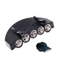 clip camp luz venda por atacado-5 DIODO EMISSOR de Luz Cap Light Clip-On 5 LED Pesca Camping Head Light HeadLamp Cap Com Baterias de Célula CR2032 CCA6551 1000 pcs