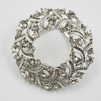 Grossiste- Femmes Rond Sparkling Silk Ribbons Boucle Strass Alloy Echarpe Holder Clip