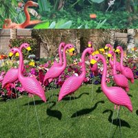 Wholesale pink colored animals - Flamingo Crafts Plastic Simulation Animal Art Work Garden Wedding Patio Ornaments Smooth Lines Brightly Colored Factory Direct Sale 20zm I1