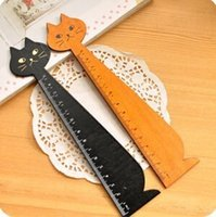 Wholesale Lovely Wooden Cats - school office supplies 15cm lovely cartoons black yellow cat shaped wooden rulers straight cute drawing rulers stationary random color