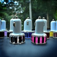 Wholesale-Automotive Supplies Rhinestone Diamond Double Usb Apple Iphone Samsung Diamond Car Car Charging Car Charger