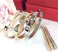 Wholesale Silver Box Chain Bracelet - New style silver rose 18k gold 316L stainless steel screw bangle bracelet with screwdriver without original box