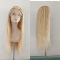 chinese hair volle spitzeperücken großhandel-Fabrikpreis # 613/27 markierte menschliches Haar volle Spitzeperücke Chinesisches Haar 22inch für Verkaufspuppe des menschlichen Haares vordere Perücke