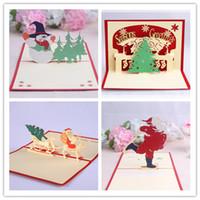 ano novo 3d feito à mão venda por atacado-2017 inverno quente Cartões de Natal 3D Pop Up Handmade Cartões de Natal Envelopes de Natal para os novos anos (7)