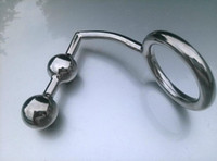 Wholesale Silver Anal Hooks - Silver Alloy Anal Hook with 2 Beads Ball and Ring,metal Anal Butt Plug for Men Gay Anal Sex Toys,heavy Anus Stimulation Toy #Q123