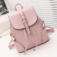 Wholesale Cheap Pink Backpacks - 2017 Shoulder bag female new school wind travel backpack Korean fashion PU leather student bags cheap sale of Chinese-made